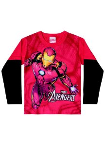 Camiseta do Homem de Ferro - Brilha no Escuro - Vermelha