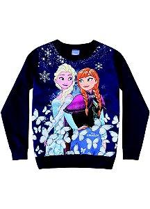 Moletom Felpado Elsa e Anna - Disney Frozen - Azul Marinho