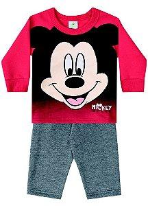 Conjunto Bebê Moletom Mickey Disney - Vermelho e Cinza - Brandili