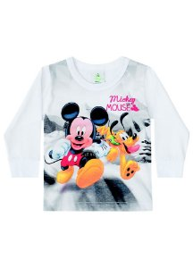 Camiseta Baby do Mickey e Pluto - Branca