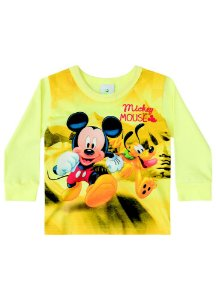 Camiseta Baby do Mickey e Pluto - Amarela