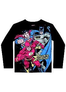 Camiseta Liga da Justiça - Brilha no Escuro - Preta