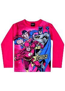 Camiseta Liga da Justiça - Brilha no Escuro - Vermelha