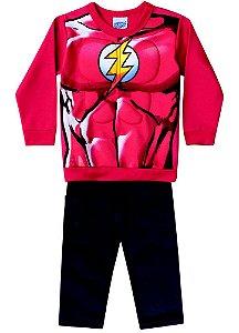 Conjunto de Moletom - Blusa Músculos e Calça - Flash - Vermelho e Preto - Brandili