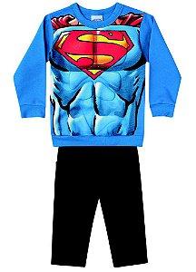 Conjunto de Moletom - Blusa Músculos e Calça - Superman - Azul e Preto - Brandili