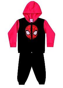 Conjunto de Jaqueta e Calça de Moletom - Homem Aranha - Preto e Vermelho - Brandili