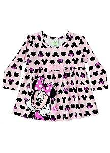 Vestido da Minnie - Corações - Disney Baby - Rosa Bebê