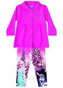 Conjunto Casaco Moletom e Legging - Disney Frozen - Pink