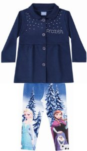 Conjunto Casaco Moletom e Legging - Disney Frozen - Azul Marinho
