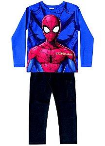 Conjunto de Blusa e Calça Moletom - Homem Aranha - Azul