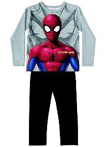 Conjunto de Blusa e Calça Moletom - Homem Aranha - Cinza Mescla
