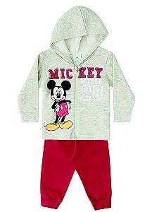 Conjunto de Jaqueta e Calça de Moletom do Mickey - Cinza e Vermelho - Brandili