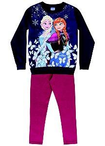 Conjunto de Blusa de Moleton e Legging - Disney Frozen - Azul Marinho