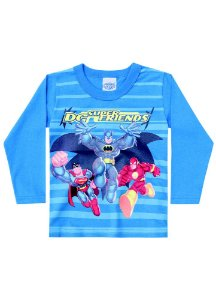 Camiseta Super Friends - Azul - Brilha no Escuro - Batman, Superman, Flash - Brandili