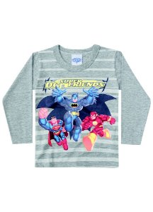 Camiseta Super Friends - Cinza - Brilha no Escuro - Batman, Superman, Flash - Brandili