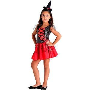 Fantasia Infantil da Bruxa com Chapéu - Vermelha - Halloween - Sula