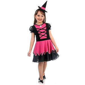 Fantasia Infantil da Bruxa com Chapéu - Lila - Rosa e Preto - Sula