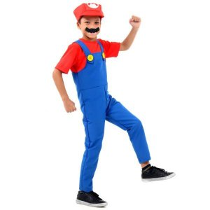 Fantasia Infantil Mario Bros - Vermelha e Azul