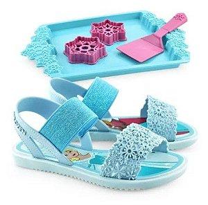 Sandália Frozen - Kit Cookies - Azul - Com Brinde