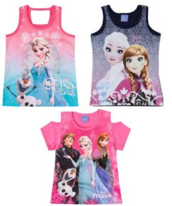 Combo Disney Frozen - 3 Blusas - Rosa e Azul Marinho - Brandili