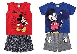 Combo Conjunto Mickey - 2 por 64,90 - Cinza, Vermelho e Azul - Disney - Brandili