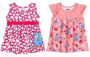 Combo Baby Galinha Pintadinha - 2 vestidos por 58,90 - Rosa e Coral - Brandili
