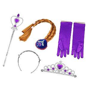 Kit da Princesa Anna - Luvas, Coroa, Trança e Varinha Mágica