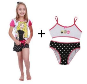 COMBO SHORT DOLL POÁ + CALCINHA + TOP - BARBIE  - POR 59,90