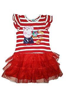 Vestido Infantil Peppa Pig - Tule Vermelho - Manga Curta