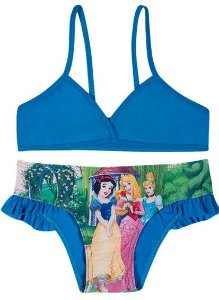 Biquini Infantil Menina Princesas da Disney Azul Turquesa - Tiptop
