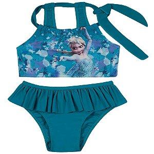Biquini  Infantil Elsa Disney Frozen - Top e Calcinha - Verde - Tiptop