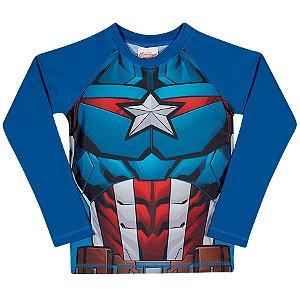 Camiseta Capitão América Proteção UV 50 FPS - Azul - Tiptop