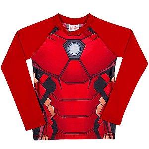 Camiseta Infantil Homem de Ferro Proteção UV 50 FPS - Vermelha - Tiptop