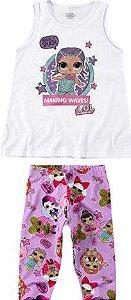 Conjunto de Blusa + Calça Corsário - Branco e Lilás - LOL Suprise - Malwee