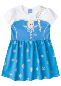 Vestido Frozen Elsa Disney - Azul - Brandili