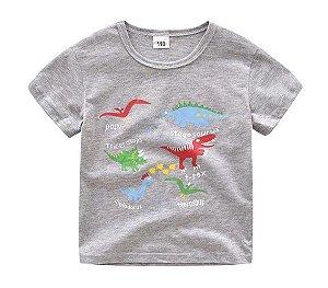 Camiseta dos Dinossauros - Cinza Mescla