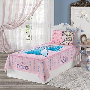 Jogo de Cama - Frozen -- Rosa - 2 Peças