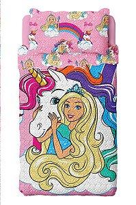 Colcha Dupla Face Barbie -  Reinos Mágicos  - 2 Peças