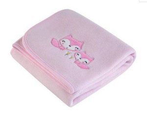 Manta Fleece Bordada - Baby - Raposinhas - Rosa - Lepper