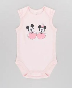 Body do Mickey e Minnie - Disney - Rosa - Algodão Sustentável