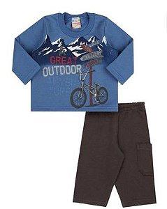 Conjunto Blusa e Calça Moletom - Bicicleta - Azul