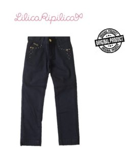 Calça de Sarja Azul Marinho com Tachas - Lilica Ripilica