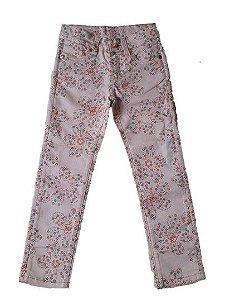 Calça de Sarja com Flores - Lilica Ripilica - Rosa