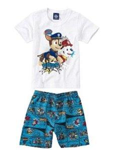 Conjunto de Camiseta e Bermuda Azul - Patrulha Canina