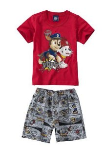 Conjunto de Camiseta Vermelha e Bermuda - Patrulha Canina
