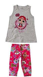 Conjunto de Blusa + Calça Corsário - LOL Suprise - Cinza e Rosa