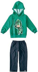 Conjunto de Blusa e Calça de Moletom - Lagartixo - PJ Masks - Verde e Azul Marinho - Malwee