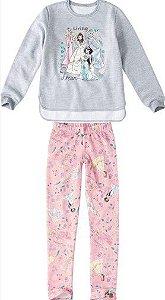 Conjunto de Blusa Moletom e Legging Estampada - Princesas da Disney