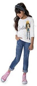 Blusa Infantil Barbie Branca - Malwee