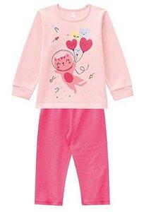 Pijama Moletinho - Gatinho Rosa - Brilha no Escuro